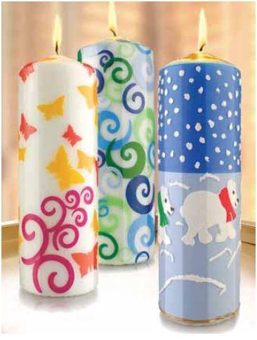 Wachsdekor, Kerzengestaltung, Kerzendesign, Kerzen basteln