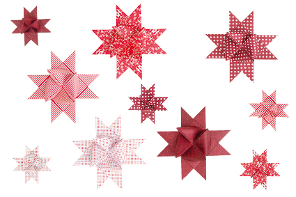 Paper Poetry Fröbelsterne, Papierstreifen, Faltblätter, Rico Design, Faltanleitung eines Fröbelsternes und kleine Anwendungsbeispiele, Folding guide for a Froebel star and examples of use, Instruction sur le pliage d'une étoile de Fröbel et petits exemples d'utilisation